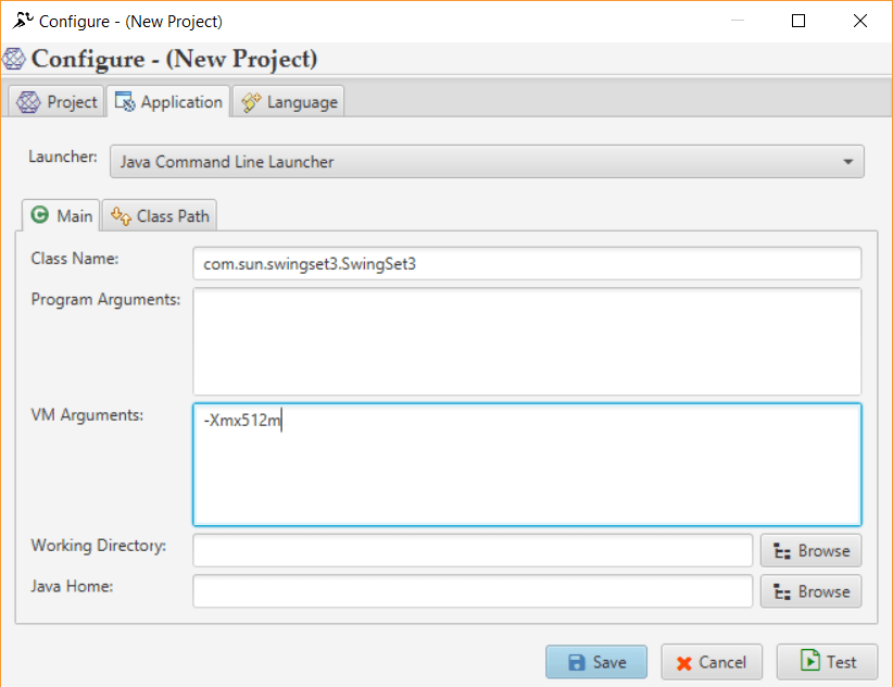 Providing Main class Name for Application Launch using Java Command