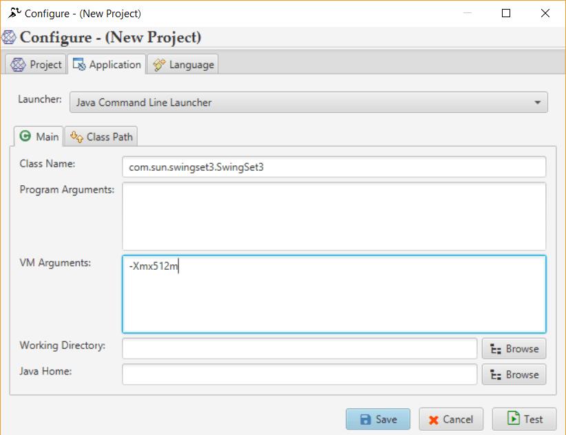 Application Tab - Java Command Line - Main
