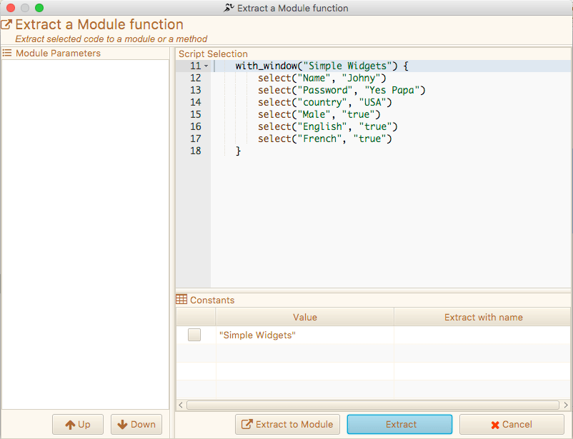 Extract Module Dialog - Marathonite