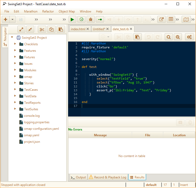 Main window with test loaded