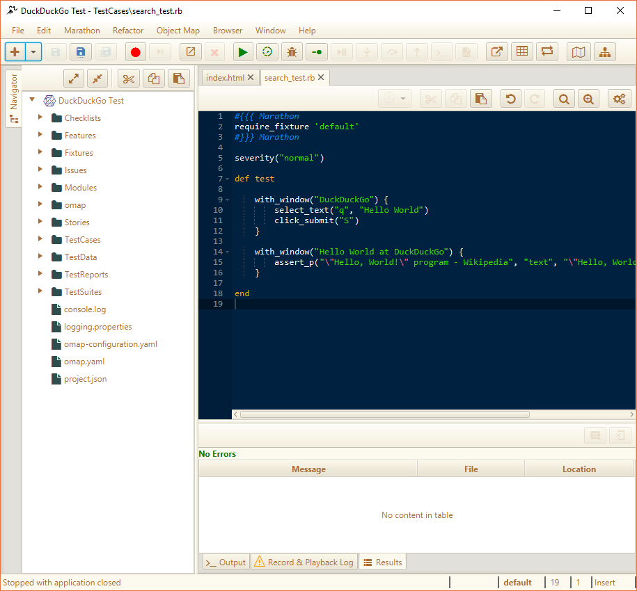 Marathon Main Window with Web Application Test Loaded