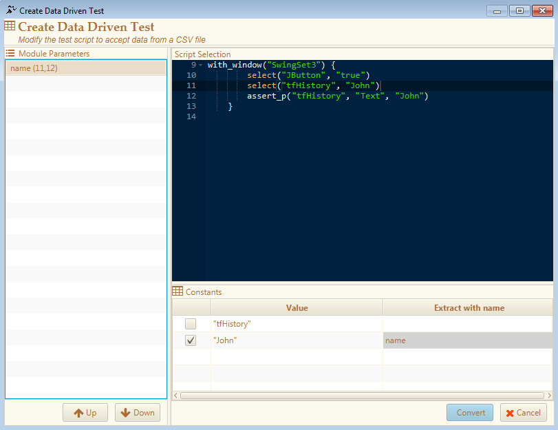 Extract Data Driven Test dialog