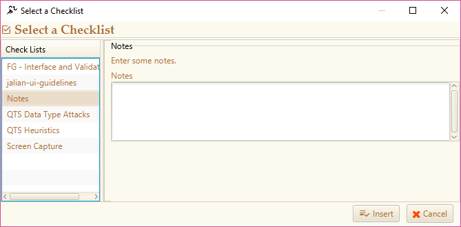 Inserting a Checklist - Semi Automated Tests