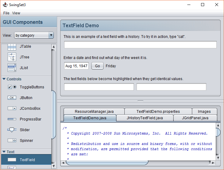 SwingSet3 TextField Operations